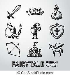 Set of hand drawn fairytale, game icons. Vector