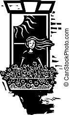 Window Flower Girl - Woodcut style image of a girl in a...