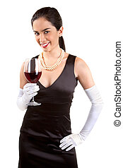 Smiling Classy Woman Holding a Glass of Red Wine - A...