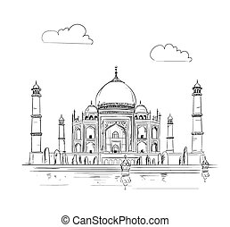 Hand drawn Taj Mahal vector Illustration, sketchy design