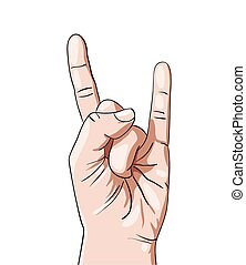 Hand in rock n roll sign