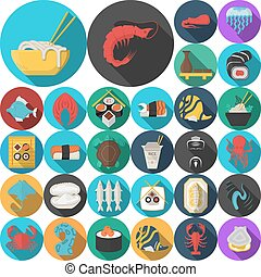 Asian menu flat round icons vector collection