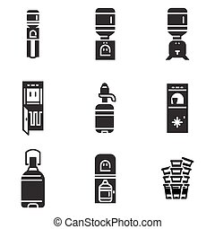 Water cooler black vector icons