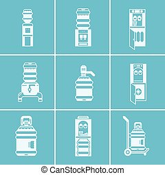 White vector icons for water coolers - Set of white...