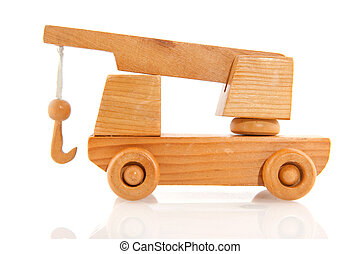 Tow truck - Wooden tow truck with crane isolated over white