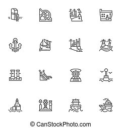 Simple line vector icons for ships and sea ports - Simple...