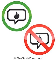Fire message permission signs - Allowed and forbidden signs...