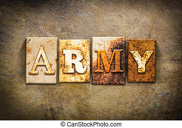 Army Concept Letterpress Leather Theme - The word ARMY...