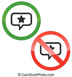 Star message permission signs - Allowed and forbidden signs...