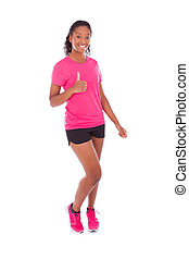 Young african american jogger woman making thumbs up gesture, isolated on white background