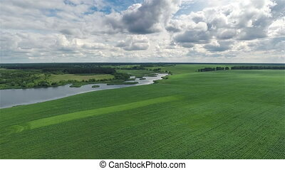 Flying Over Green Field and River - Aerial shot: Flying Over...