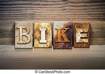 """Bike Concept Letterpress Theme - The word """"BIKE"""" written in..."""