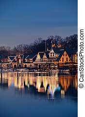 Boathouse Row in Philadelphia as the famous historical...