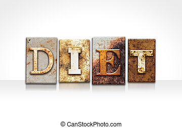 Diet Letterpress Concept Isolated on White - The word DIET...