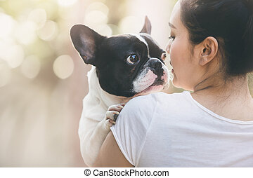 french bulldog kiss girl - French bulldog is cute kissing...