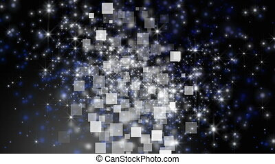 Futuristic animation with light particles in motion and square background, loop HD 1080p