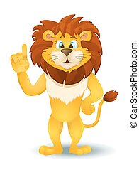 cartoon lion standing and pointing. vector illustration