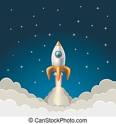 flying rocket on a starry blue background. vector illustration