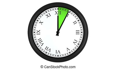 Animated clock with Roman numerals and a green time interval...