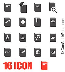 Vector grey schoolbook icon set on white background