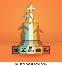 Infographics with colorful airplanes. Statistics trips, air travel, cargo flights, vacation. Vector illustration.