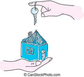 Drawn hands holding house with key