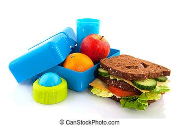 saudável, almoço, caixa