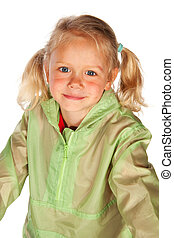 Child in rain coat - Little girl is wearing a rain coat
