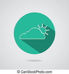 Abstract cloud icon. Teal button