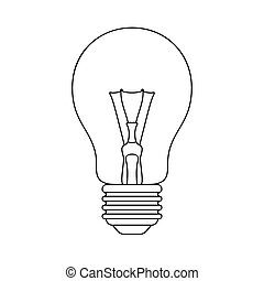 Light bulb icon Outline illustration Isolated on white