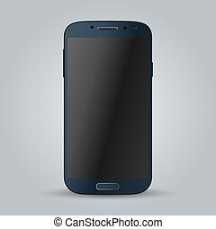 Realistic blue mobile phone Illustration image - Realistic...