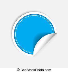 Round stickers with curled edge isolated on white background.