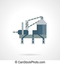 Oil drilling rig flat vector icon - Flat color design vector...