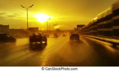 Car driving at bad weather. - Car driving at bad weather at...