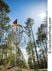 Disc golf hole on top of hill in the woods