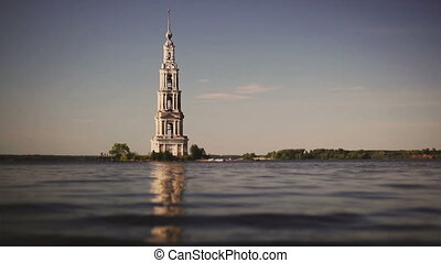 Belfry on island in Russia. Retro colors and slow motion.