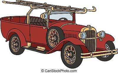 Vintage fire truck - Hand drawing of a vintage fire vehicle...