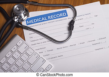 Medical insurance records and Stethoscope - Stethoscope...