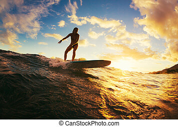 Surfing at Sunset. Beautiful Young Woman Riding Wave at...
