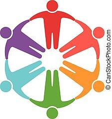 gente, en, círculo, logotipo,