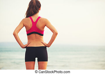 Young Sports Fitness Woman - Young healthy fitness woman on...