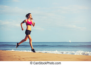 Sports Fitness Woman Running on the Beach at Sunset -...