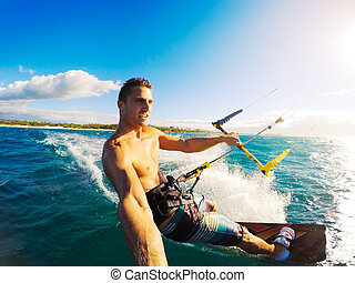 Kiteboarding, Extereme Sport - Kiteboarding Fun in the...