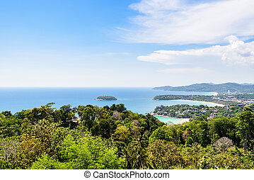 High view Hat Kata Karon in Phuket island - High scenic view...