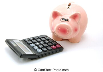 piggy bank and calculator showing saving concept...