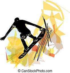 Sandboarding illustration - Sketch of Sandboarding colorful...