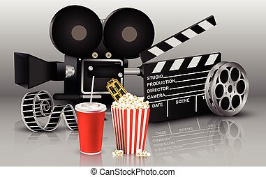 Film, popcorn and drink - Illustration of Film, popcorn and...