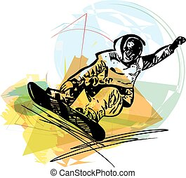 Snowboarding illustration - Sketch of Snowboarding colorful...