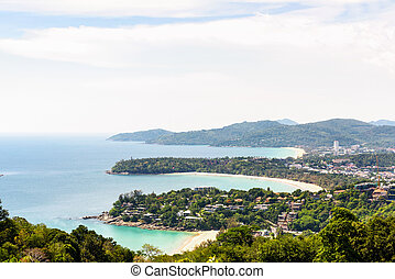 Hat Kata Karon Viewpoint in Phuket island - High scenic view...