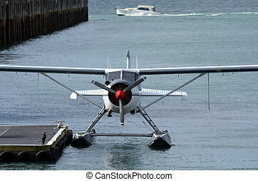 Seaplane mooring in Aucklnad Viaduct Harbour - New Zealand -...